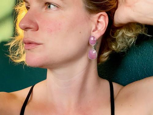 Statement Free Form Dark Pink Raw Sapphire Sterling Silver Geometric Dangle Earrings