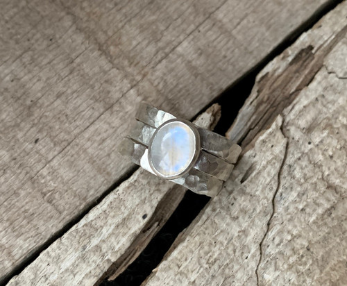 Elegant White Moonstone Sterling Silver Hammered Band Trio Ring