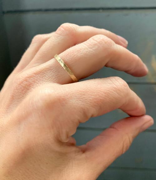 Simple Elegant 14 Karat Gold Hammered Ring Band   Stacking or Midi Ring   Wedding Band