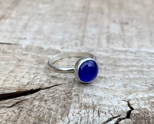 Bright Blue 8mm Round Chalcedony Sterling Silver Ring | Engagement Ring | Chalcedony Ring | Made to Order | Gifts for Her | Boho