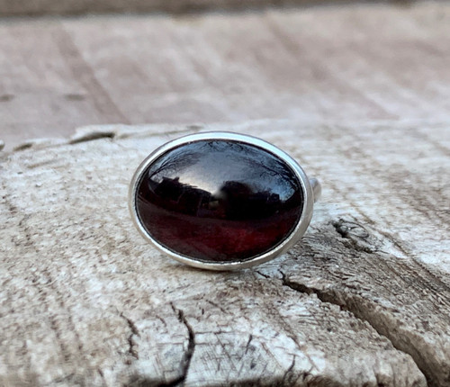 Large Horizontal Oval Dark Red Garnet Sterling Silver Statement Ring | January Birthstone Ring