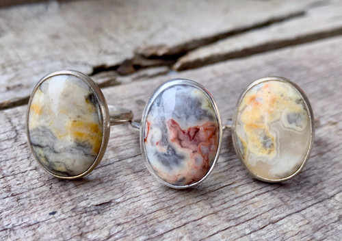 Stunning Oval Crazy Lace Agate Sterling Silver Statement Ring