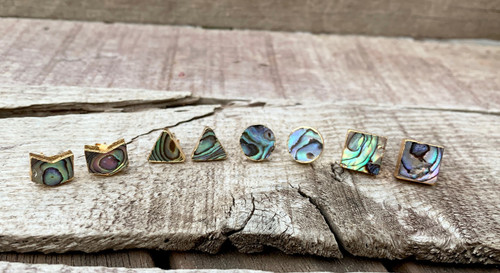 Geometric Abalone Paua Shell Gold Stud Earrings