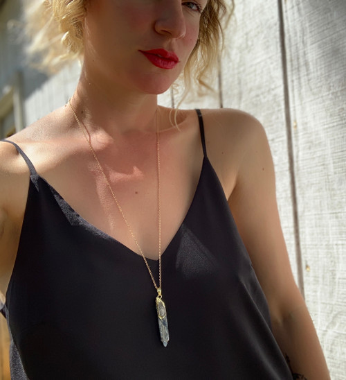 Raw Blue Kyanite Gold Dipped Necklace with Quartz Accent