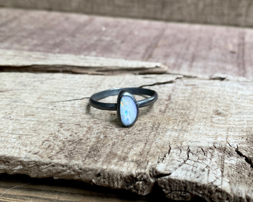 Luminescent Sparkly Blue Boulder Opal Dark Patina Sterling Silver Ring