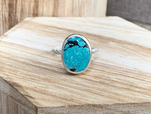 Tibetan Turquoise Sterling Silver Ring with Twisted Ring Band