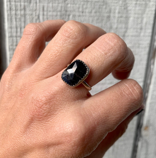 Raw Black Sapphire Sterling Silver September Birthstone Ring