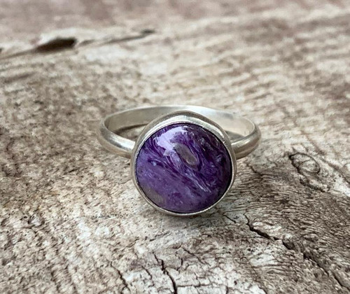 Solitaire Luminescent Purple Charoite Sterling Silver Ring