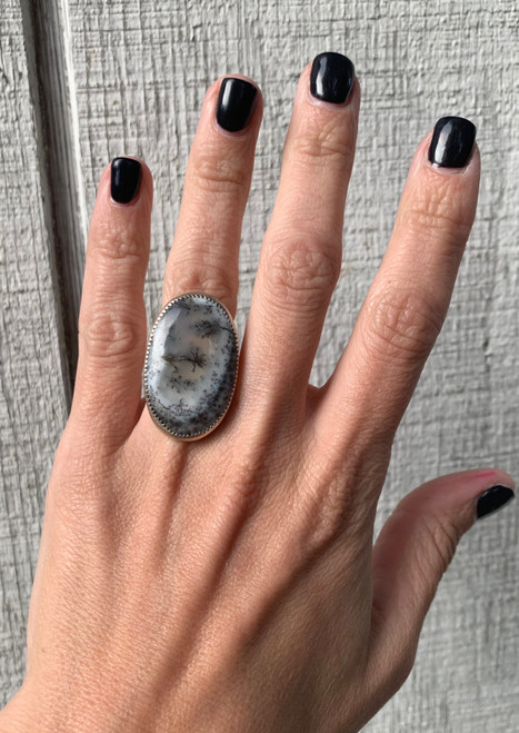 Large Oval Black and White Dendrite Opal Sterling Silver Ring with Serrated Bezel Setting