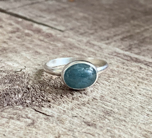 Natural Oval Blue Aquamarine Birthstone Sterling Silver Ring | March Birthstone Ring
