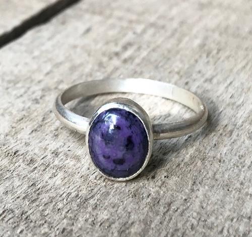 Elegant Plum Purple Oval Sugilite Sterling Silver Ring | Engagement Ring