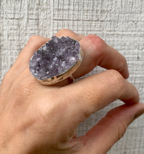 Stunning Raw Amethyst Druzy Sterling Silver Ring