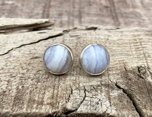 Elegant Faceted Light Purple Lace Agate Stud Sterling Silver Earrings