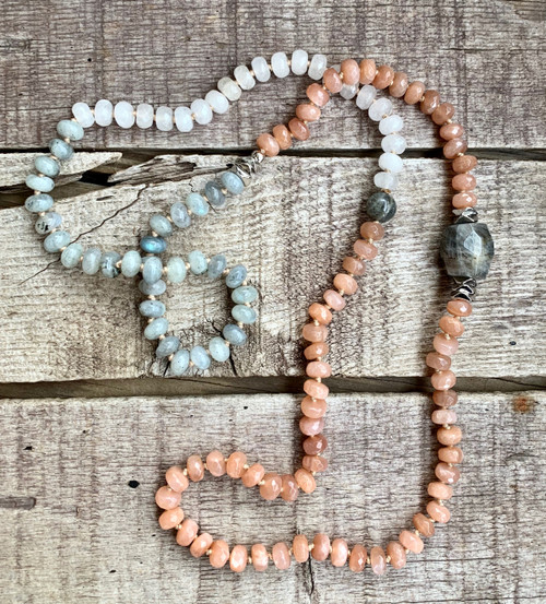 Faceted Beaded Orange Pink Sunstone White Moonstone and Gray Blue Labradorite Necklace