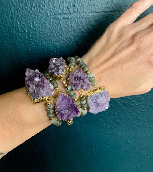 Chunky Raw Amethyst Geode Faceted Labradorite Gold Gemstone Bracelet