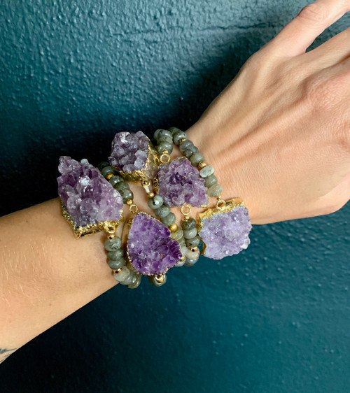 Chunky Raw Amethyst Geode Faceted Labradorite Gold Gemstone Bracelet