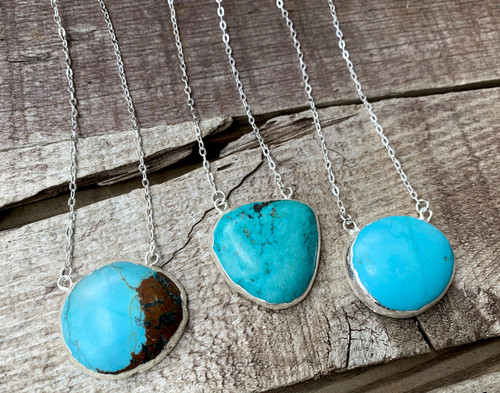 Organic Freeform Blue Tibetan Turquoise Silver Electroplated Pendant Necklace