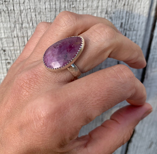 Large Elegant Raw Faceted Pink Sapphire Sterling Silver Statement Ring |