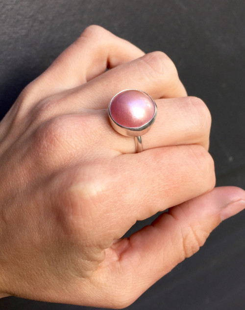 14mm Pink Luminescent Mabe South Sea AAA Pearl set in Sterling Silver