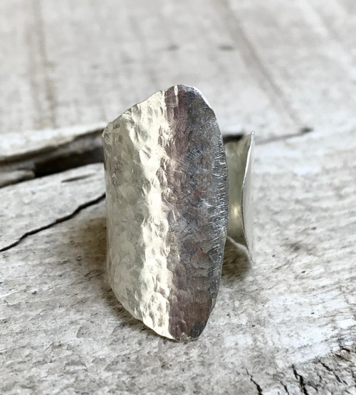 24 Gauge Sterling Silver Hammered Wrap Ring | Boho | Rocker | Statement Ring | Edgy Ring | Tribal | Adjustable Ring | Silver Cuff Ring