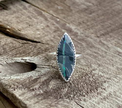 Rare Stunning Marquise Lightning Ridge Blue Opal Sterling Silver Ring