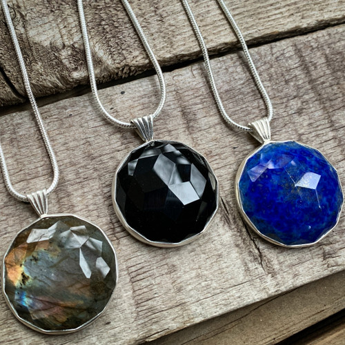 Large Round Rose Cut Labradorite, Onyx, or Lapis Lazuli Sterling Silver Pendant Necklace