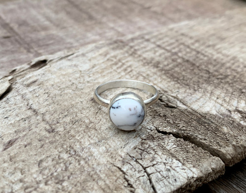 Elegant 10mm Dendrite Opal Agate Sterling Silver Solitaire Ring