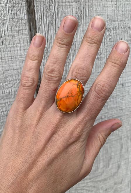 One of a Kind Orange Ocean Jasper Sterling Silver Ring