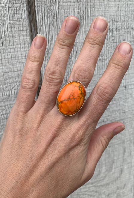 One of a Kind Orange Ocean Jasper Sterling Silver Ring