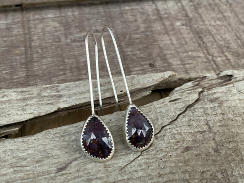 Dark Purple Faceted Geometric Sapphire Sterling Silver Drop Earrings