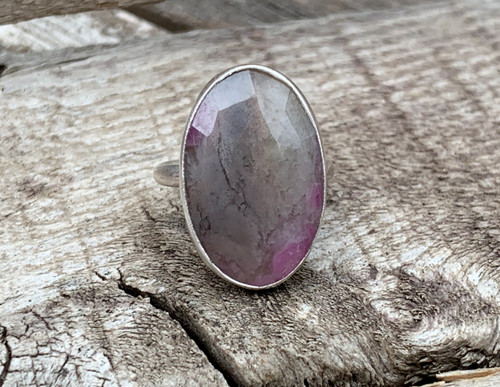 Elegant Pink and Gray Large Oval Faceted Sapphire Sterling Silver Ring