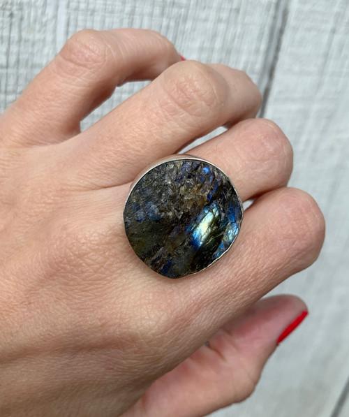 Edgy Raw Gemstone Large Round Blue Black Labradorite Statement Ring