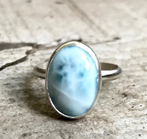 Elegant Light Blue Larimar Sterling Silver Ring | Sea and Sky Larimar Ring | Boho | Solitaire Larimar Ring | Elegant Ring | Gifts for Her