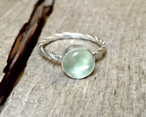 8mm Elegant Apple Green Luminescent Prehnite Solitaire Gemstone Sterling Silver Ring | Twisted Band Prehnite Ring | Prehnite Silver Ring
