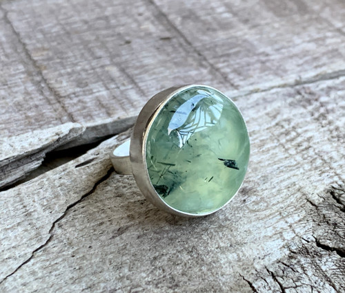 Large Round Bright Green Black Needles Prehnite Sterling Silver Ring