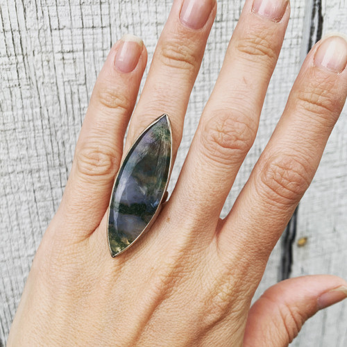Rare One of a Kind Large Marquise Moss Agate Sterling Silver Hammered Band Ring