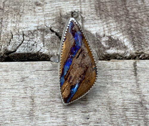 Rare One of a Kind Yowah Wood Blue Purple Opal Geometric Sterling Silver Statement Ring