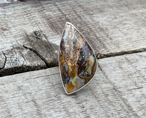 Rare Free Form Geometric Yowah Wood Pink Green Blue Cream Opal Sterling Silver