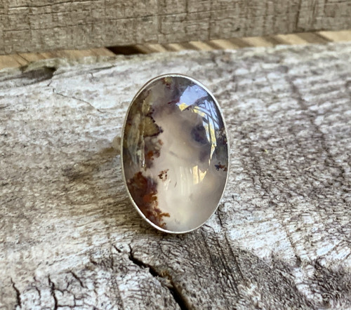 Multi Colored Oval Moss Agate Sterling Silver Ring | Agate Ring