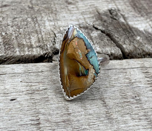 Bright Baby Blue Green Pink Orange Yowah Wood Opal Sterling Silver Ring
