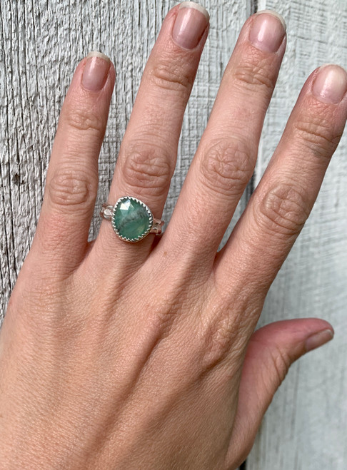 Stunning One of a King Raw Light Green and Gray Faceted Sapphire Gemstone Sterling Silver Ring | September Birthstone Ring