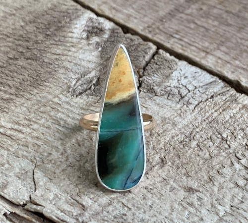 Elegant Large Teardrop Blue Opal Sterling Silver and 14 Karat Gold Filled Mixed Metals Ring