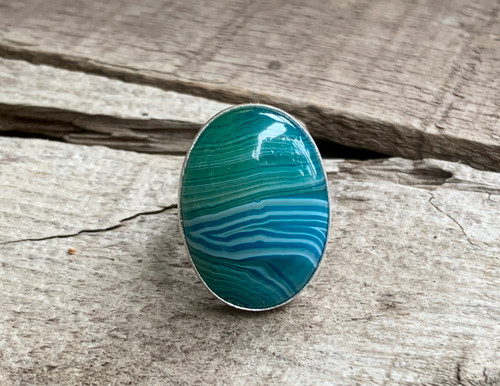 Large Oval Blue Brazilian Agate Sterling Silver Ring