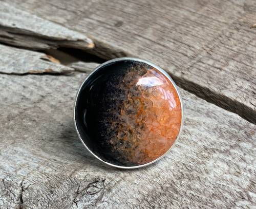 Stunning Edgy Black and Orange Inner Druzy Agate Sterling Silver Ring | Druzy Ring