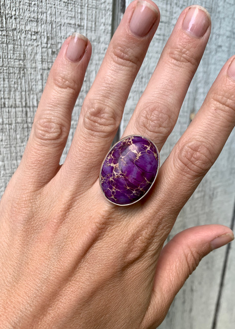 One of a Kind Large Oval Purple Ocean Jasper Sterling Silver Ring