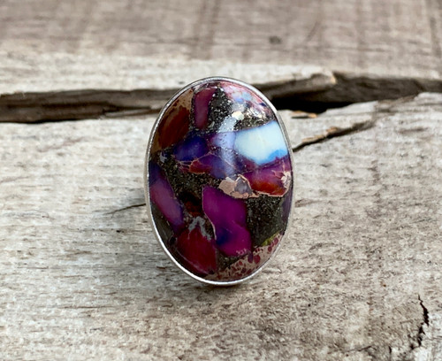 Purple Pink Pyrite Flecked Oval Ocean Jasper Sterling Silver Ring