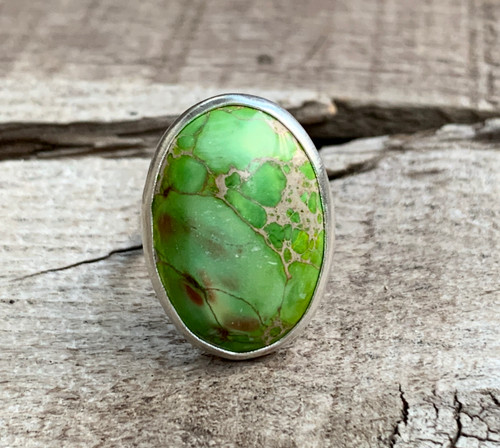 Light Green Oval Ocean Jasper Sterling Silver Ring | Mermaid Jewelry