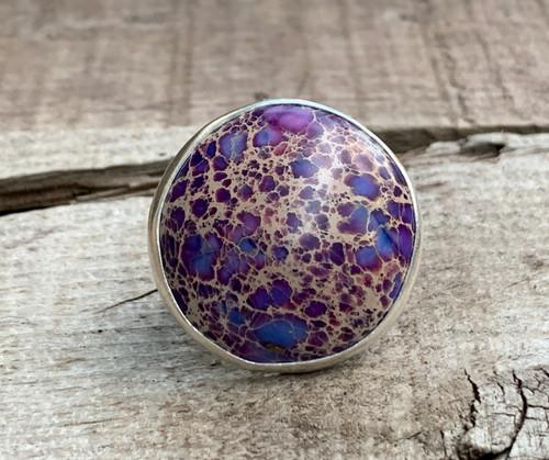 Large Round Purple Ocean Jasper Sterling Silver Statement Ring