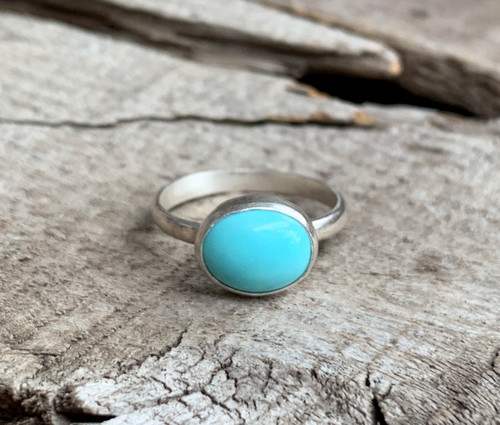 Elegant Dainty Light Blue Turquoise Horizontal Sterling Silver Solitaire Ring  | December Birthstone | Birthstone Jewelry