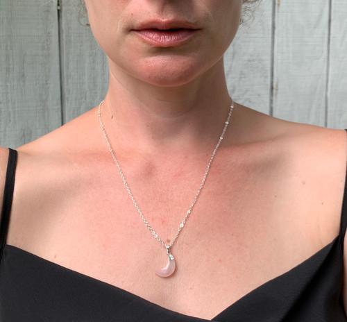 Half Moon Gemstone Silver or Gold Necklace | Crescent Moon Silver or Gold Necklace | Witchy